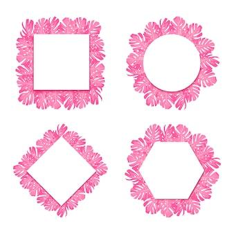 Exotische tropische roze bladerenmonstera. set rond, ruit, zeshoek, vierkant papier banner.