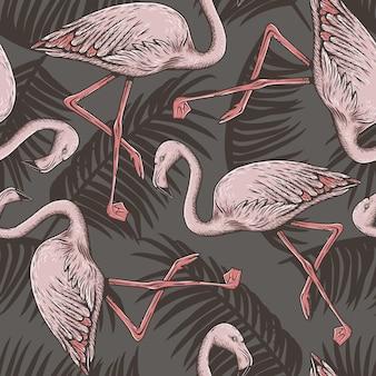 Exotische vogel, roze flamingo, palmbladeren, tropisch naadloos patroon