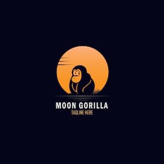 Exotische volle maan en schattig gorilla-logo-ontwerp