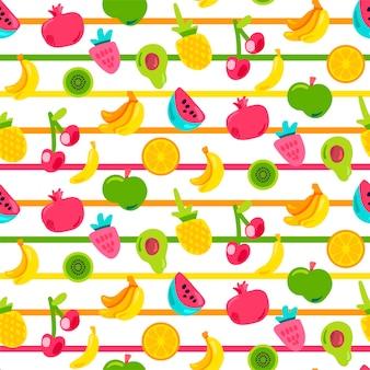 Exotische zomervruchten vector naadloze patroon. fruitstickers op veelkleurige gestreepte achtergrond