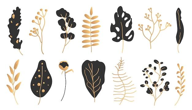 Exotische zwarte gouden tropische bladset. hand getekend abstract jungle bloemen botanisch element verlaat palm, monstera voor decoratieve compositie of uitnodigingskaart geïsoleerd op wit