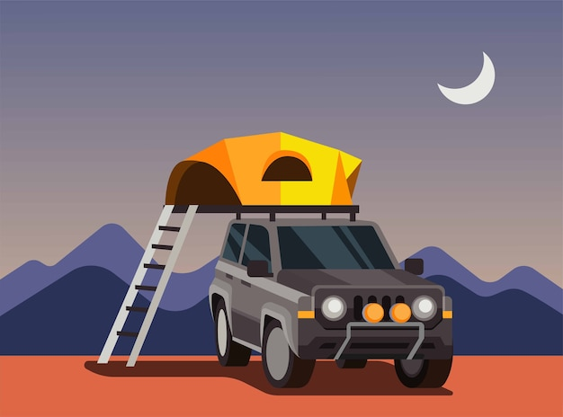 Expeditie met suv-auto, autocampingtent, tent op het dak van de auto-illustratie