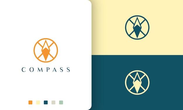 Expeditie- of avonturenlogo met een eenvoudige en moderne kompascirkelvorm