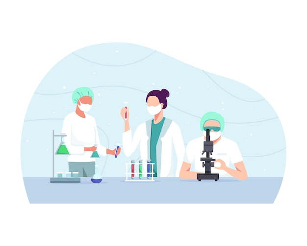 Experimenteel, biochemisch wetenschapsteam dat werkt met microscoop voor coronavirusvaccin, ontwikkeling in farmaceutisch onderzoekslaboratorium.