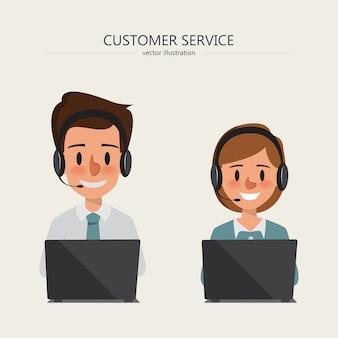 Exploitant van call centrebureau die in de klantendienst werken met hoofdtelefoon.