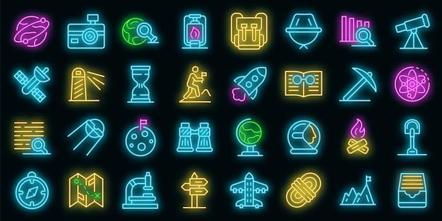 Exploratie pictogrammen instellen. overzicht set van exploratie vector iconen neon kleur op zwart