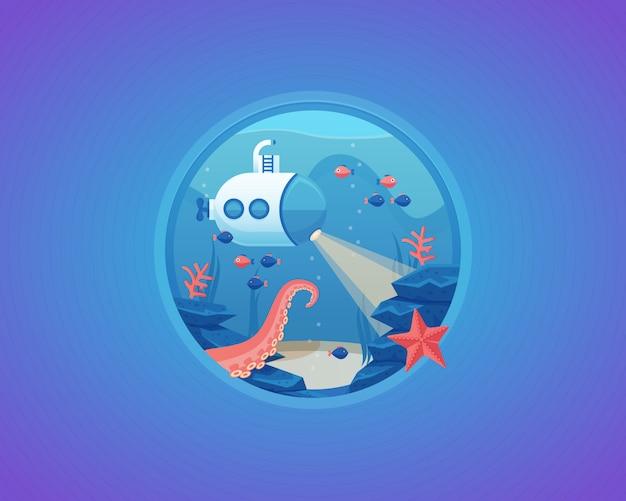 Exploratie van diep waterleven. bodem van de zee. cartoon illustratie.