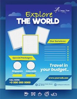 Explore the world-sjabloon of brochure met lege fotolijsten, speciale pakketten van singapore en indonesië op blauw met locatiegegevens.