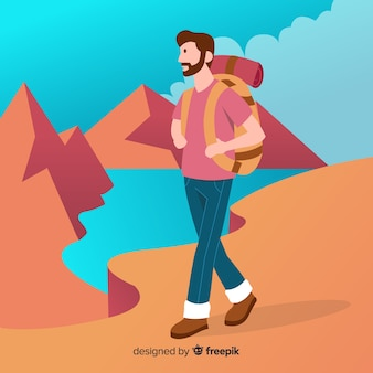 Explorer met rugzak achtergrond
