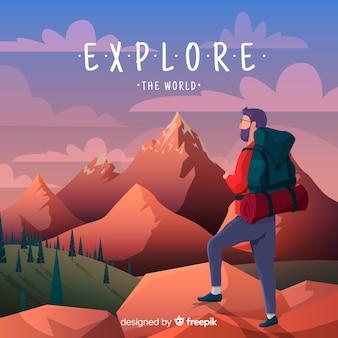 Explorer met rugzak