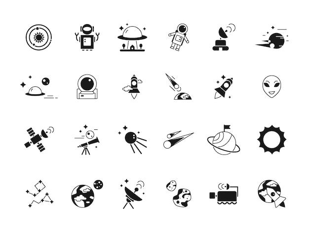 Explorer-ruimtepictogrammen. telescoop shuttle astronauten in de maan en verschillende planeten satellieten. silhouetten van ruimtefoto's