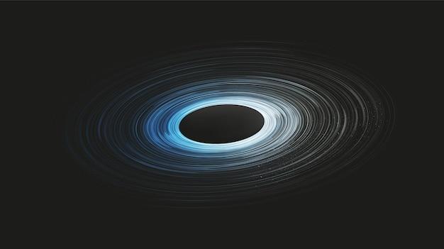 Explosie blauw spiraal zwart gat op galaxy achtergrond. planeet en natuurkunde concept.