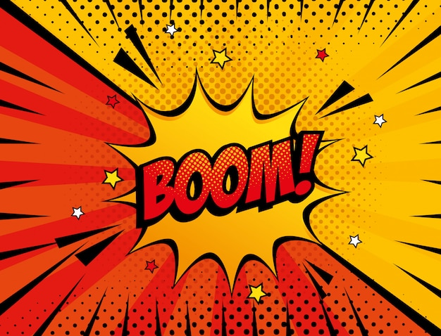 Explosie boom pop-art stijl