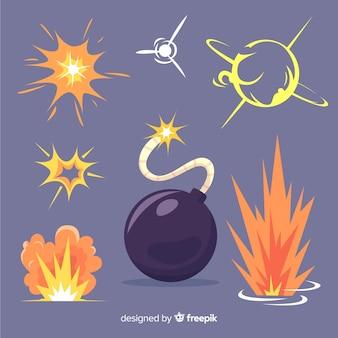 Explosie-effect collectie cartoon design