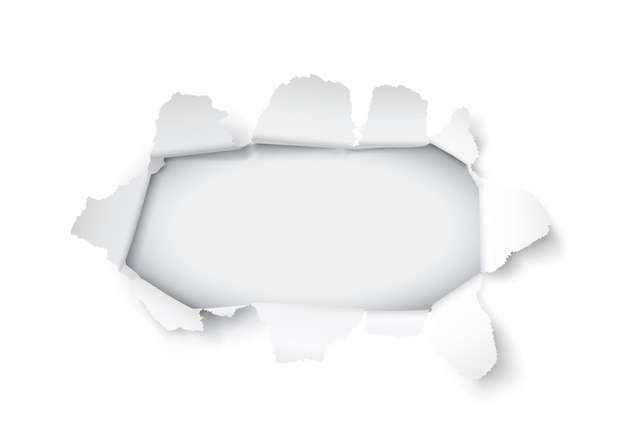 Explosie papier gat op de witte achtergrond. vector illustratie