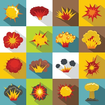 Explosie pictogrammen instellen, vlakke stijl