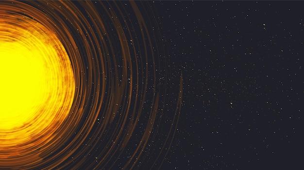 Explosie van de zon op de achtergrond van het interstellaire universum