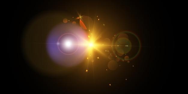 Explosie van een ster in de ruimte met schittering en heldere stralen.