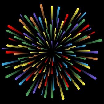 Explosie van vuurwerk gloeiende lichteffecten abstracte heldere kleurrijke lijnen stralen