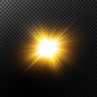 Explosie zon. ster schijnt. glow lichteffect. illustratie. wit gloeiend licht explodeert op een transparante achtergrond