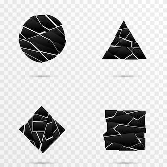 Explosieve banner vernietiging van png-vormen explosie van figuren vernietiging in kleine deeltjes