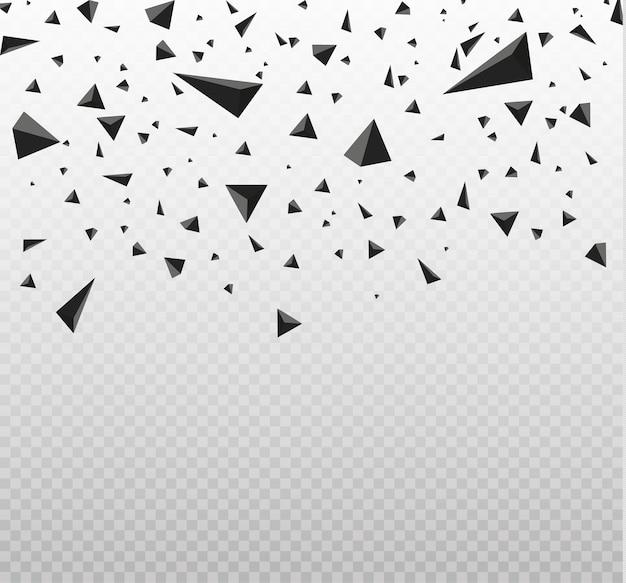 Explosiewolk van zwarte stukken op witte illustratie als achtergrond