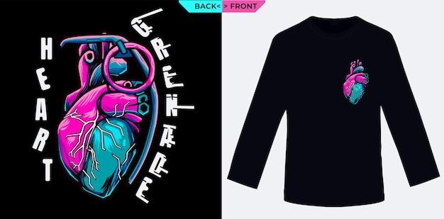 Explosion heart-granaat is geschikt voor zeefdruk van tshirts