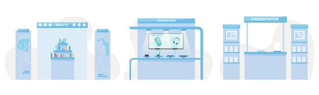 Expo-beursstands van schoonheidstechnologie en boekenpresentatiecabines instellen vectorinterieur