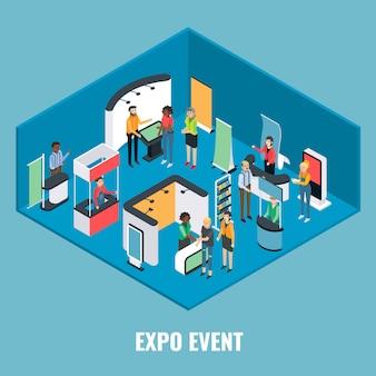 Expo-evenement platte isometrische illustratie