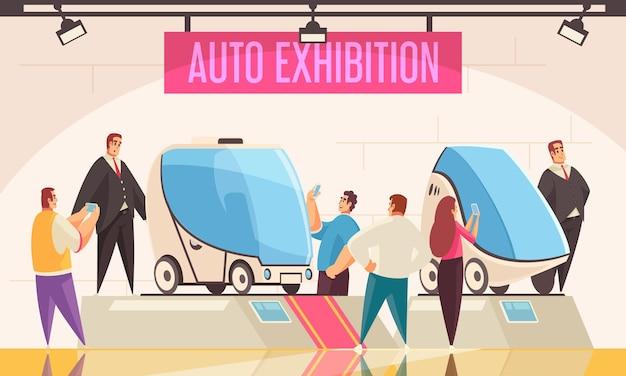 Expo stand autotentoonstelling symbolen vlakke afbeelding