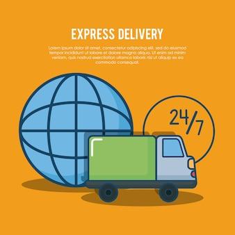 Expreslevering met wereldwijd gebied en vrachtwagentruck pictogram over oranje achtergrond