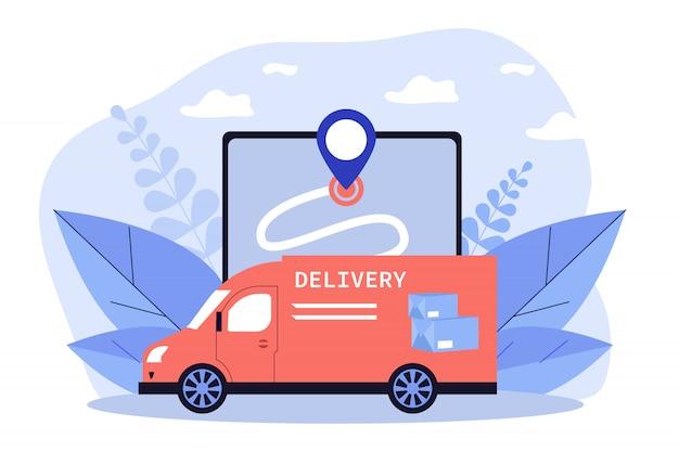 Express-bestelwagen die pakket, doos of pakket aflevert