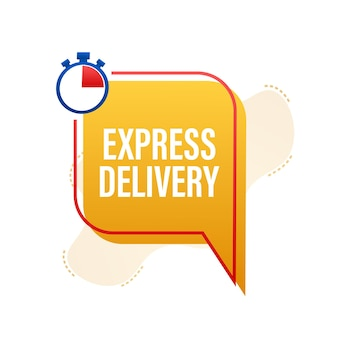 Express bezorgservice. snelle leveringsbestelling met stopwatch. vector voorraad illustratie.