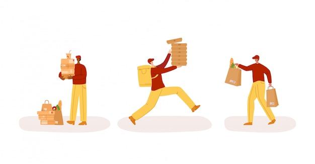 Express bezorgservice - veilige levering van producten aan huis, grappige mannen of koeriers in uniform