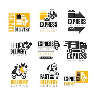 Express bezorgset voor. zomer strandtoerisme en rust illustraties voor stickers, banners, kaarten, advertenties, tags