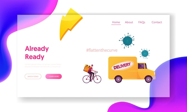 Express delivery service bij coronavirus pandemic landing page template.