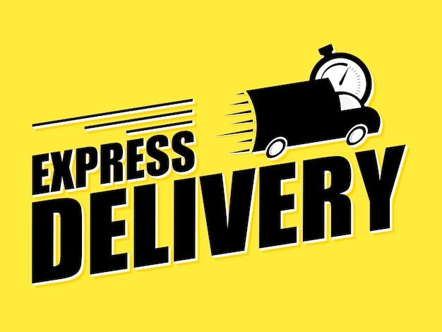 Express levering concept pictogram. mini venwith stopwatch pictogram op gele achtergrond. concept van service, bestelling, snelle, gratis en wereldwijde levering. illustratie.