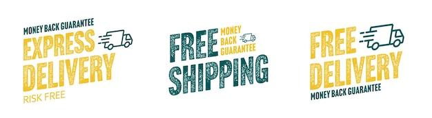 Express levering en gratis verzending grunge sticker