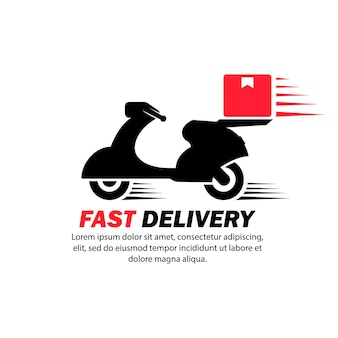 Express levering logo icoon. fiets met doos. scooter. motorfiets. vector op geïsoleerde witte achtergrond. eps-10.