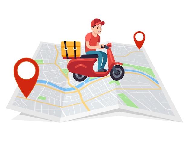 Express levering. motorrijder koerier op bromfiets met doos op stadsplattegrond, snel mannelijk personage op motorritten naar klant, verzending van pakket platte vector jonge stripfiguur