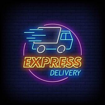 Express levering neon uithangbord op bakstenen muur