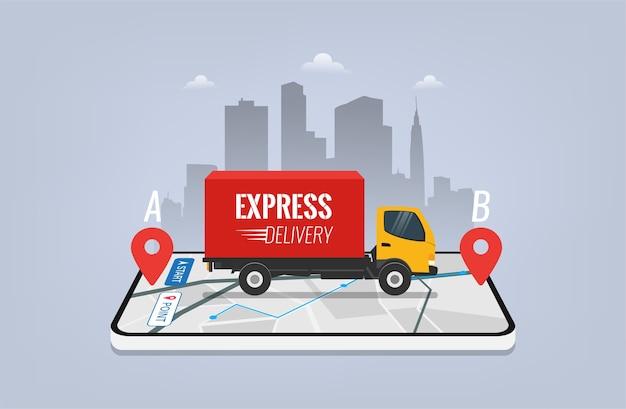 Express levering service ontwerpconcept. levering van vrachtauto's op mobiele smartphone-app met gps-navigatie.