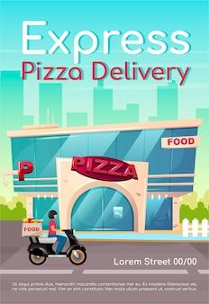 Express pizza levering poster platte sjabloon. pizzeria, restaurant. fastfood bestellen. cateringservice. brochure, boekje conceptontwerp van één pagina met stripfiguren. cafetaria flyer, folder