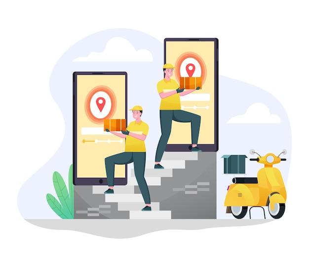 Express scooter bezorgopdrachten aan klanten een vlakke afbeelding concept