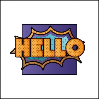 Expressie bubbel met hallo pop-art stijl