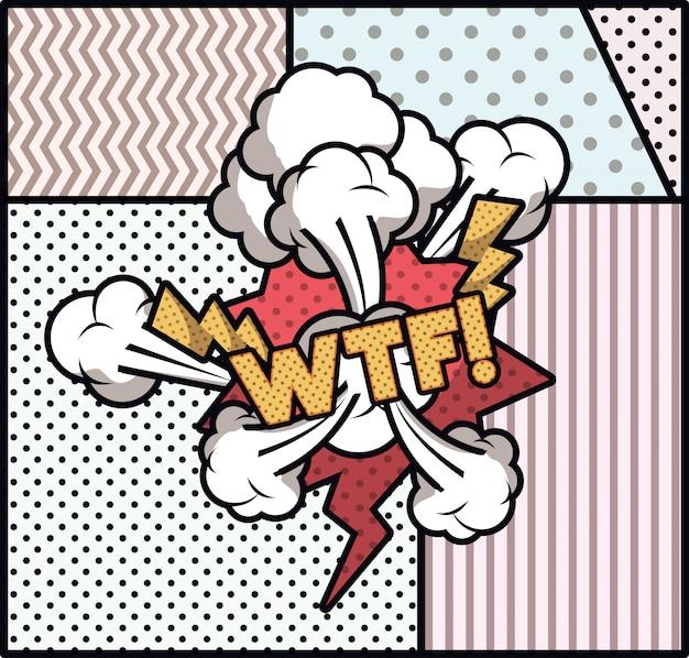 Expressie bubbel met wtf pop-art stijl