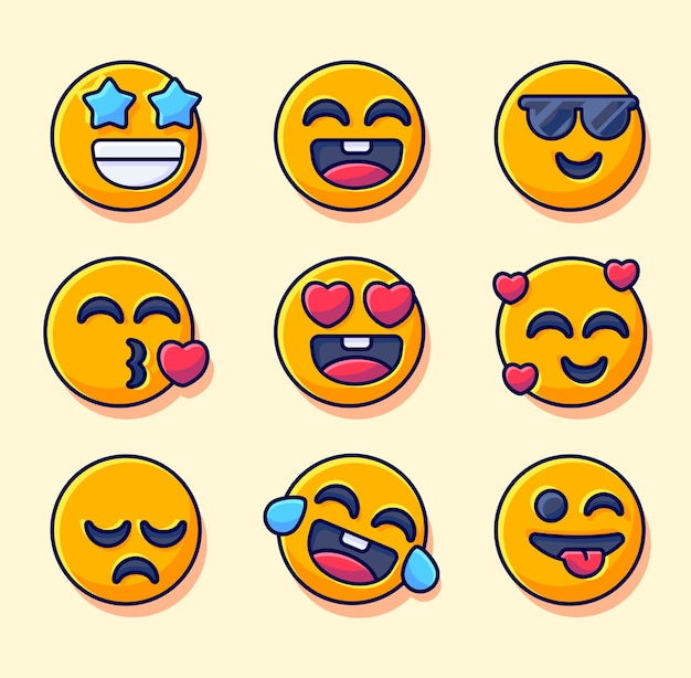 Expressie gezichten emoticon tekenset set schattig smilley voor social media collectie emoticon icon set