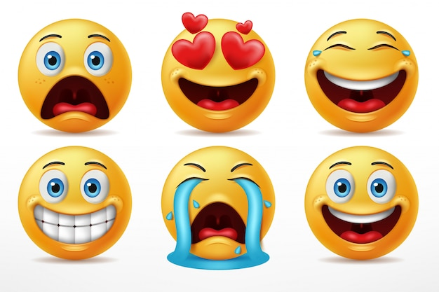 Expressie gezichten emoticon tekenset