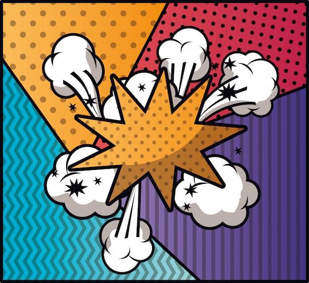 Expressie wolk met ingestelde patronen pop-art stijl