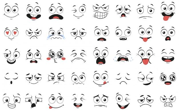 Expressieve ogen en mond, lachend, huilend en verrast karakter gezichtsuitdrukkingen vector illustratie set